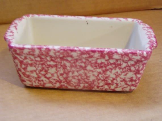 Rose Spongeware Henn Pottery Loaf Bread Pan