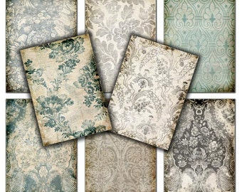 Damask floral Shabby chic  Vintage wallpapers  -  3.5 x 2.5   Gift tags,  ACEO cards, Printable Digital Collage Sheet to Download 153