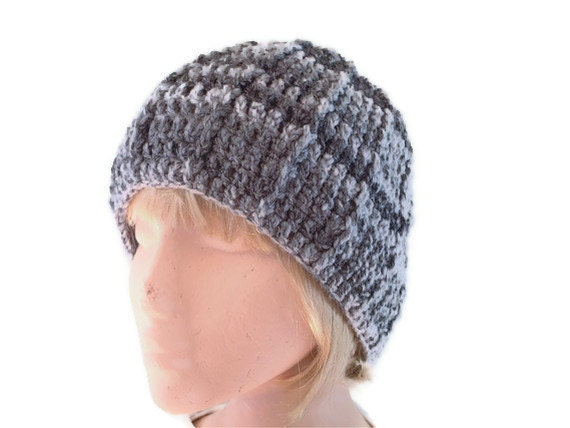 Mens Beanie Hat Hand Crocheted in Greys. Unisex. Womens Fashion Accessories. Winter Warmers