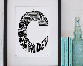 Best of Camden - London print - London poster - London Art - Typographic Print - London illustration - letter art - North London poster