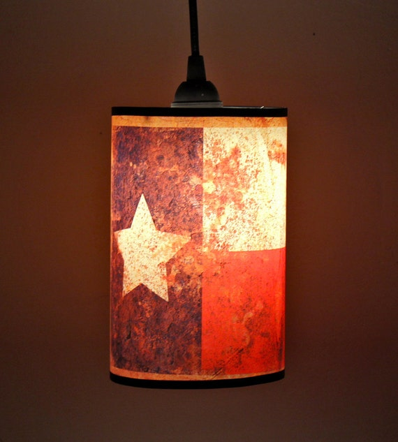 Texas Flag Vintage / Rustic Western Style 5in Pendant Light
