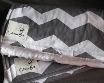 Gray & White Chevron Burp Cloth Set (2)