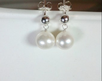 Simple Sterling Silver and Pearl Drop Earrings