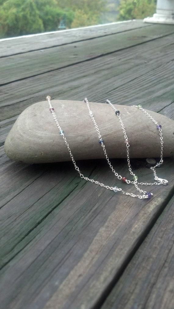 Long Sterling Silver Multi Gemstone necklace