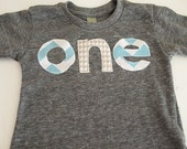Teal / turquoise white chevron and grey white houndstooth Birthday Tee Organic Shirt Blend first birthday second