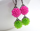 Pink and green earrings, long dangle lime green bright neon pink resin flower earrings, beaded jewelry