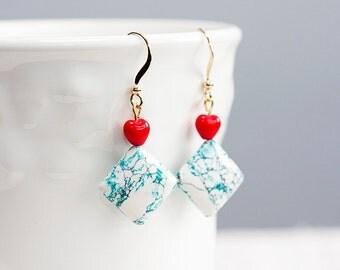 Tiny Red Heart Magnesite Earrings White Teal Square Beads Robin Egg Blue Ivory Rhombus Earrings - E205