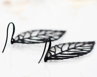 Black Leaf Earrings Skeleton Leaf Black Earrings Lightweight Filigree Leaves Fall Fashion Leaf Jewelry - E209