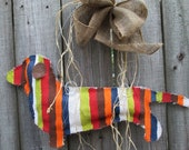Dachshund Burlap Door Hanger with Stripes and Burlap Bow