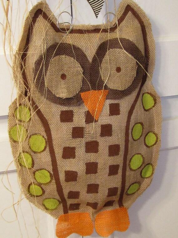 Owl Burlap Door Hanger Door Decoration