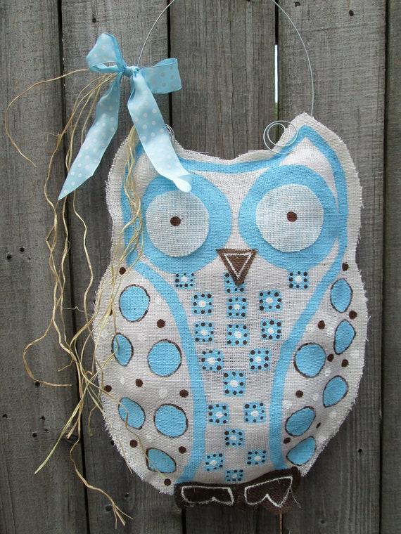 Items similar to owl burlap door hanger door decoration for Baby boy door decoration