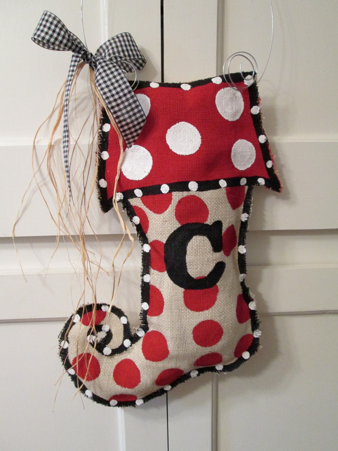 Christmas stocking burlap door hanger with initial by