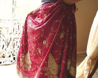 long silk skirt maroon with jari embroidery, tatty princess, gypsy bohemian