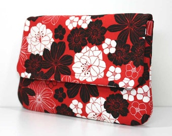 Clutch - Black and White Flowers on Red  with 2 Pockets - Ready to Ship