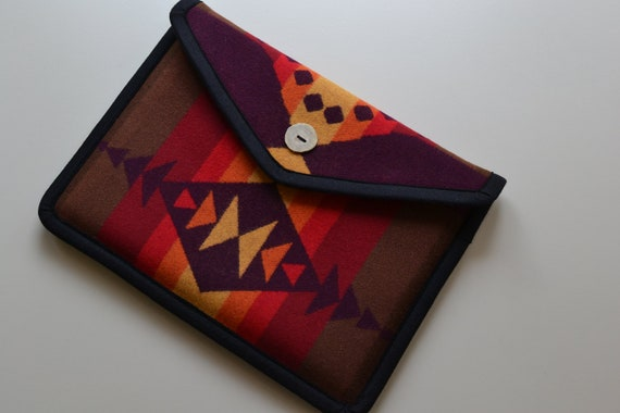 "Pendleton blanket weight wool 13"" Macbook Pro Laptop Cover - purple Native American print - antler button or velcro"