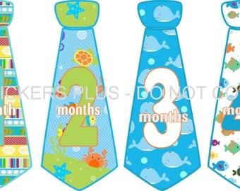 Baby Boy Monthly Tie Stickers Month Necktie Neck Tie Stickers Under the Sea Whale Crab Turtle Fish Blue Green 1-12 Months Shower Gift