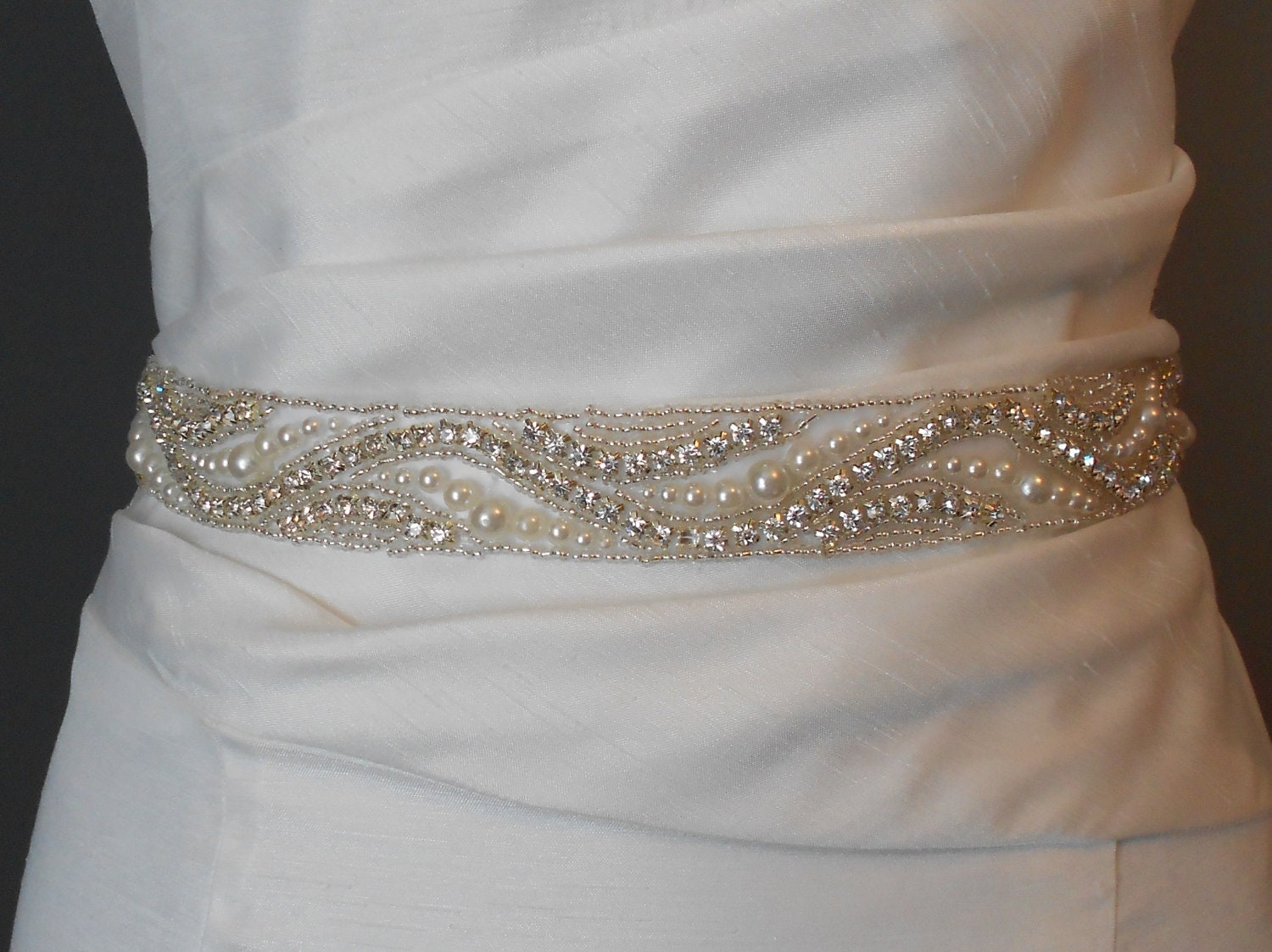 bridal sash beaded sash wedding dress sash by bridalbyvanessa