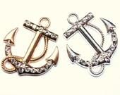 SALE Rhinestone Anchor Charm Pendant Sailor Navy Charms