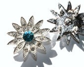 SALE  Rhinestone Flower Connector Charm Turquoise Silver