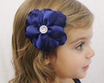 Navy Wedding Flower Hair Bow - Fancy Layered Flower Hair Bow - Navy Blue Flower Bow for Girls