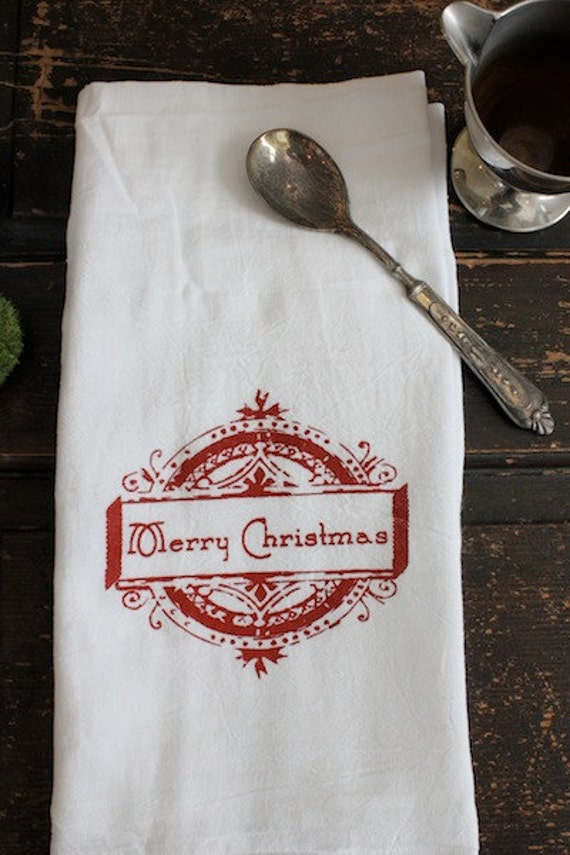 Christmas Towels 3 Flour Sack Towel Kitchen Towel Merry