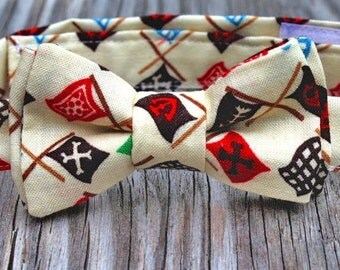 Newborn Photo Prop Boys Bow Tie Pirate Flags in Ivory or Blue