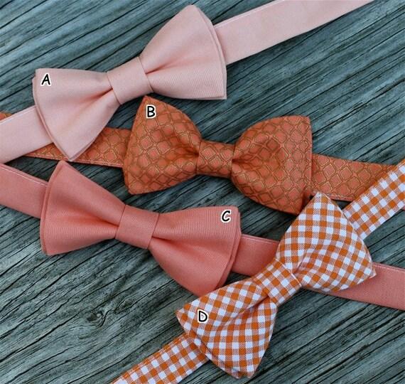 coral bowtie,  boys coral tie, orange gingham tie, peach bow tie, toddler bow tie