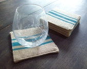 Burlap Coasters with Grain Sack Style Stripes - Set of 6 - Choose Your Colors - Coasters - Rustic Coasters - Drink Coasters - Fabric Coaster