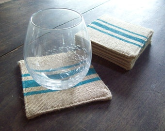 Burlap Coasters with Grain Sack Style Stripe, Set of 6, Choose Your Colors, Coasters, Rustic Coasters, Drink Coasters, Fabric Coasters