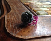 Gray and Pink Flower Ring