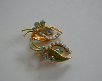 Beautiful Vintage Lily Earrings Marked Robert Blue Rhinestone