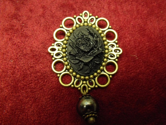 Bronze Cameo Brooch,  Gothic Black Rose Cameo with Black Pearl Womens Gift  Handmade