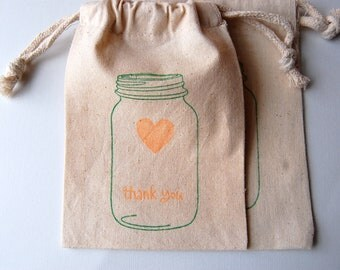 Mason Jar Muslin Bags / Set of 10 / Perfect for Wedding or Baby Shower Favors