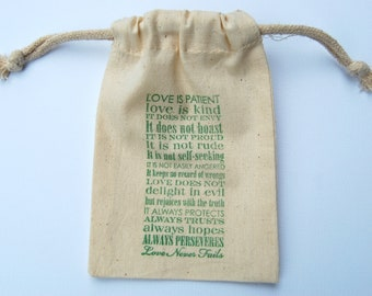 Love is Patient Wedding Muslin Bags / Set of 50/Perfect for Weddings or Bridal Showers