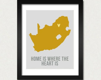 South Africa Map Print, Home is where the heart is, Travel Quotes Print, Cape Town Poster, Minimalist Modern Design, Buy 2 Get 3 SALE