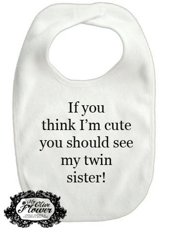 should see my twin sister brother embroidered baby bib baby shower