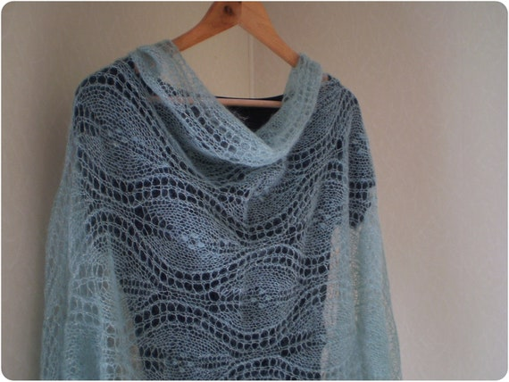 SALE  Leaf Lace stole hand knitted sparkly wrap