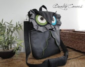 Customizable for Color Fabrics and Size CONVERTIBLE Backpack laptop  - OWL in Dark Grey / laptop Compartment / Shoulder bag /  Messenger bag