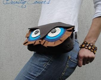 SALE - 15% OFF CLUTCH  Messenger bag Brown Owl/Hip Bag/Waist purse/Shoulder bag/Shoulder bag/free 8 interior pockets/can be any color