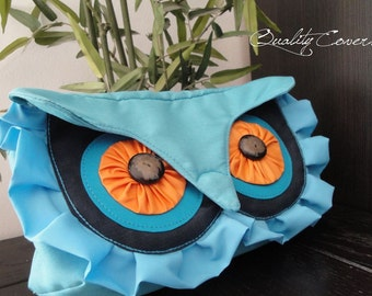 CLUTCH Blue Convertible OWL bag with 2 Straps / Waist purse Handbag Shoulder bag Fanny Pack Hip Bag / WATERPROOF/ can be any color