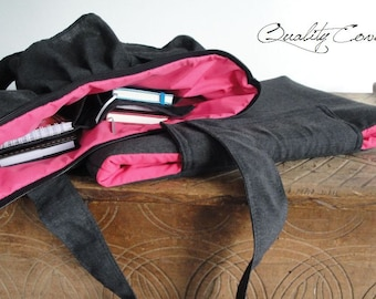 2 items - SET Everyday ruffle bag and PADDED Laptop Cover / Tote / 2 Straps / CUSTOMIZABLE as color/fabric and sizes
