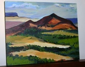 """Original Painting of New Mexico, Capulin Volcano, on a 11"""" x 14"""" x 3/4"""" Art Panel"""
