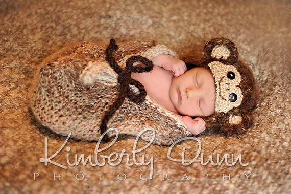 Newborn fuzzy monkey baby hat - soft on baby's head, great photography prop