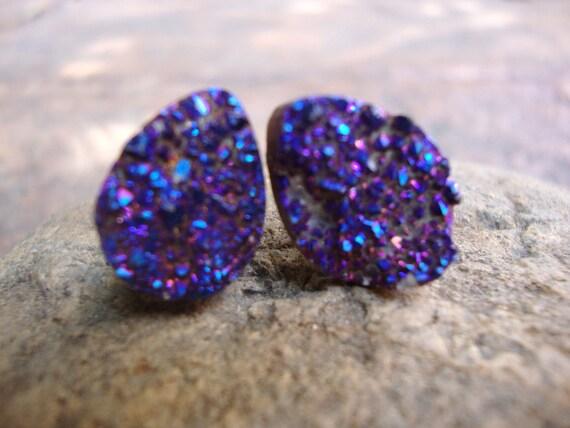 RAW Cobalt Blue/purple Rainbow Titanium Flame Aura Druzy Quartz Crystal Gemstone , Astral tear drop studs