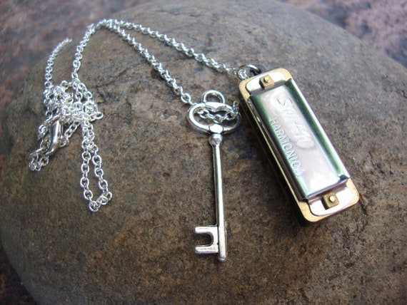 Real working harmonica necklace with skeleton key charm