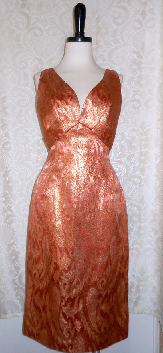 Vintage Hand Tailored Coral Brocade Cocktail Dress