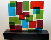 Abstract Art Glass Sculpture Mid Century Quilt Home Office  Blue Red Crandberry Green