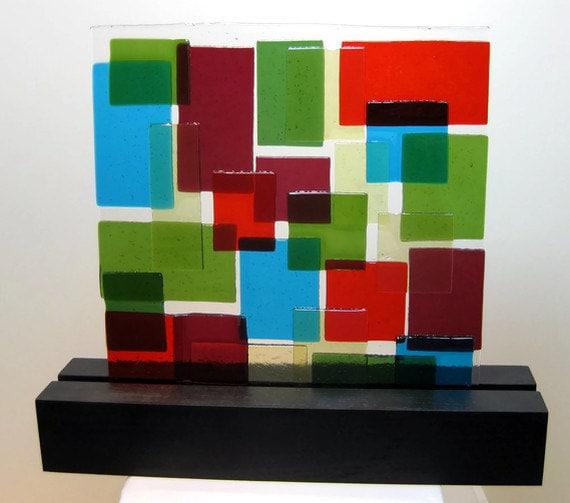 Abstract Art Glass Sculpture Mid Century Quilt Home Office  Blue Red Crandberry Green