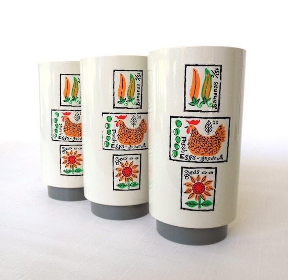 Plastic Tumbler(s) Set Vintage Retro Drinking Cup 1970s