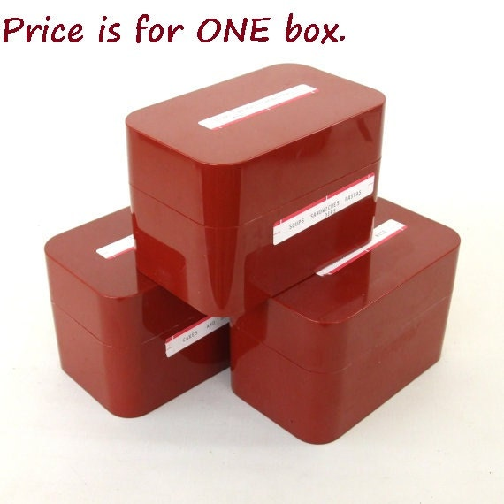 Plastic Recipe Card File Box(es) 1980 Office Supply Rust Color